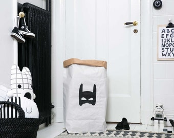 Superhero paperbag storage of toys books or teddy bears - Kids interior