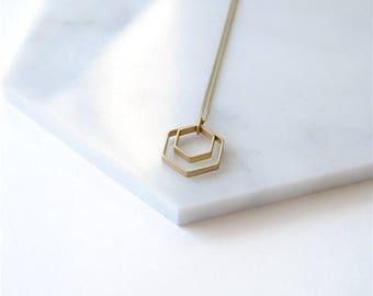 Paired Hexagons Necklace. Geometric Minimalist For Girlfriend or Sisters Gift. Layering Simple Jewelry For Wife. Modern Honeycomb Necklace.