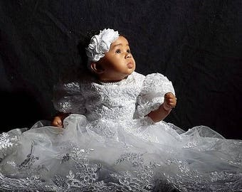 Baptism Dress - baby girl Christening Dress - Baptism  Dress - Baptism Gown - Christening dress baby girl  - pearls - lace-white-