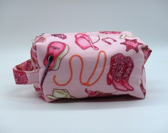 Pink Cowgirl Bag, Zip Pouch, Ditty Bag, Toiletry Kit, Pencil Case, Candy Bag, Shave Kit, Travel Case, Makeup Bag, Gifts for Her