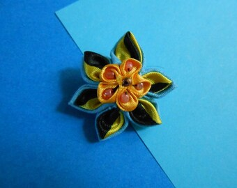 Brooch Kanzashi - double flower - handmade