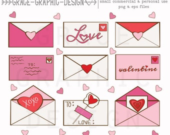 Cute Valentine's Day Clipart, Valentine Letter Clipart, Valentine Clipart, Valentines, Digital Illustrations, Love Letter Clipart Set