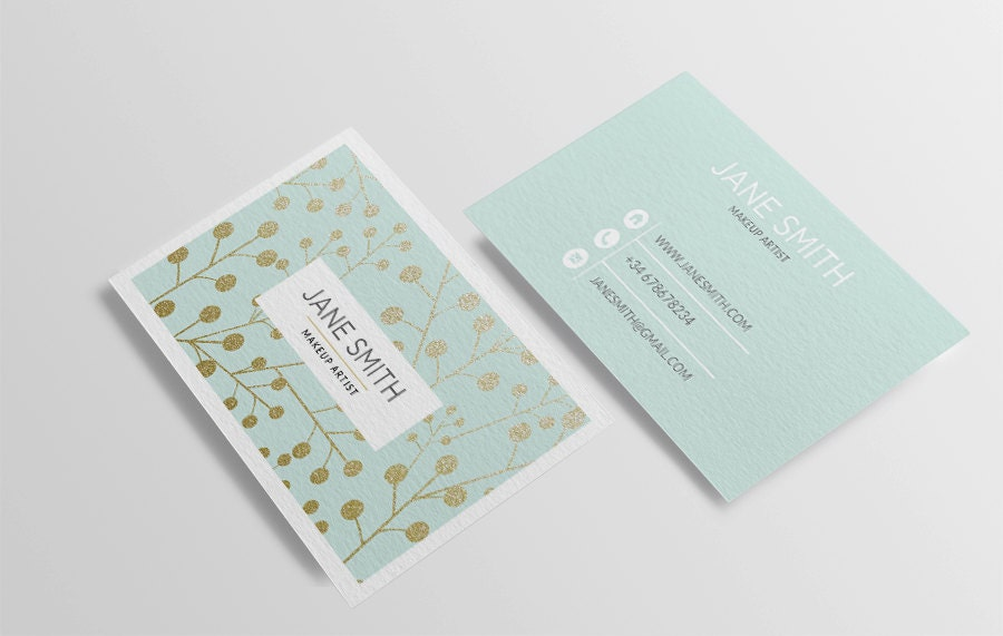 Mint business card template printable business card design