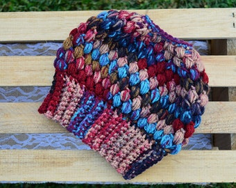 Crochet Messy Bun Beanie