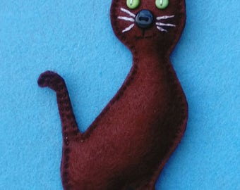 Handmade Felt Cat Decoration, Cut Button nosed Kitty ideal for a Twig Tree