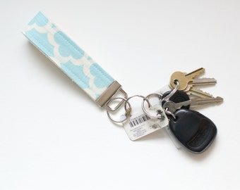 Fabric Key Chain Fob Blue Tarika