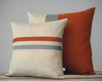 Color Block & Stripe Pillow Set - Burnt Orange and Grey - Striped Pillow (16x16) - Colorblock Pillow (20x20) by JillianReneDecor FW2015
