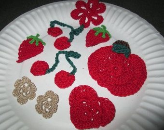 Applique Crocheted by SuzannesStitches, Crocheted Embellishments, Handmade Applique, Crocheted Applique, Fruit Applique, Heart Applique