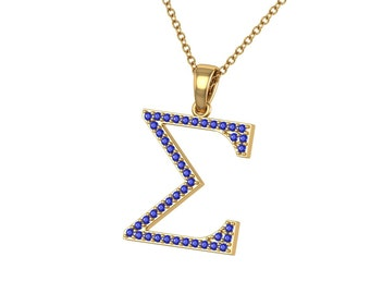 Sigma Gamma Rho Necklace - Sterling Silver Lavalier with Blue Crystal