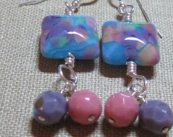 Turquoise, Pink, Green, & Lavendar Handmade Glass with Czech Glass Santa Fe Square Dangle Earrings - E670
