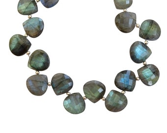 Bright Flashy Labradorite Faceted Hearts, Labradorite Faceted Briolettes, Labradorite Heart Shaped Briolettes (13 to 14 mm) (FL 54)