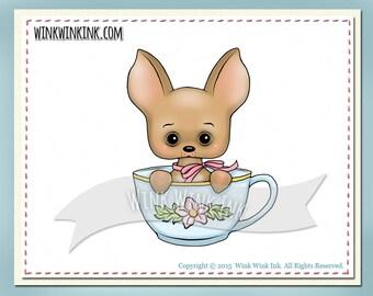 Digital stamp - Teacup Chihuahua -  tiny dog printable digi image