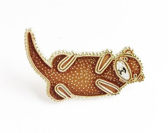 Otter Lapel Pin, Otter Enamel Pin, Enamel Otter Brooch, Kids Otter Jewelry, Otter Lapel Brooch, Animal Pin