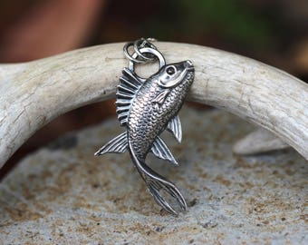 Sterling Silver Fish Necklace Sterling Silver Nature Necklace Koi Necklace Koi Jewelry Ocean Jewelry Statement Jewelry Nature Jewelry