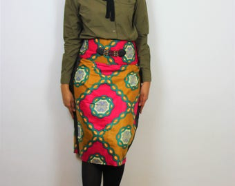 skirt-wax skirt, straight skirt mid long