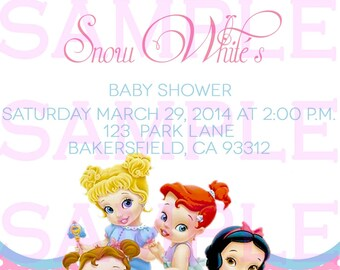Baby Shower Invitation Princess Disney Babies Girl Announcement Invitation Digital File Only