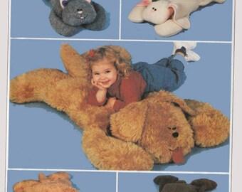 Vintage 1990's  Fuzzy Friends Cat, Rabbit, Dog, Bear Animal Pillow Shams Sewing Pattern McCalls 9616 UNCUT