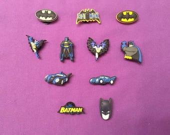 11-pc Batman Shoe Charms for Crocs, Silicone Bracelet Charms, Party Favors, Jibbitz