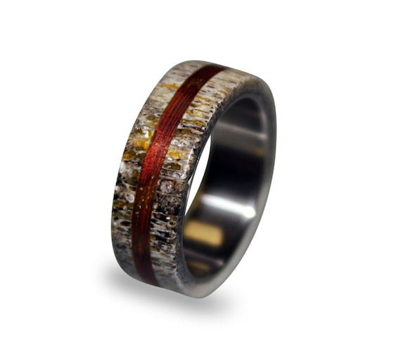 by rings titanium whiskey collections wedding deer johan custom ring jewelry antler band oak