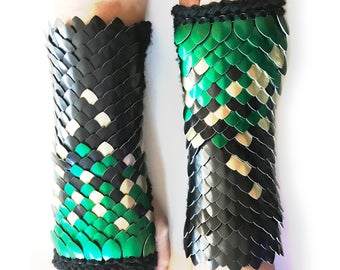 Knitted Scale Maille Gauntlets, Mid-Length