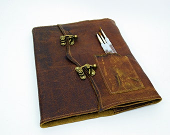 Executive Artist Folio Refillable Leather Journal -Distressed leather hide