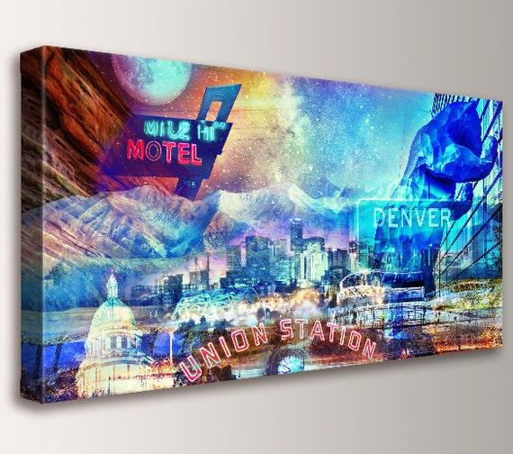 "Denver Colorado Art Collage Skyline Cityscape Rocky Mountains Canvas Wall Art Urban Art Art Modern Wall Decor ""Mile High City"""
