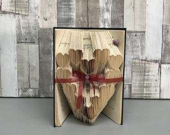 Folded book art, book folds, folded book, paper gift, book origami, upcycled, repurposed book, book lovers, girlfriend gift, anniversary