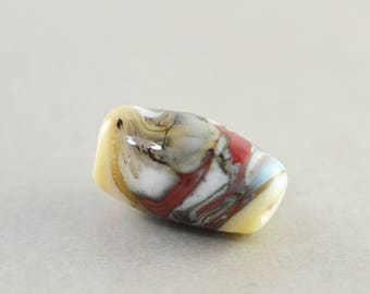 Artisan Lampwork Barrel Bead, Cream Aqua Burgandy Focal Bead, 20mm Glass Bead, OOAK