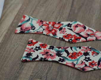 Handmade bow tie red  floral self tie freestyle colorful cotton bowtie