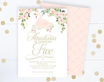Swan Princess Birthday Invitation, Swan Invitation, Swan Birthday Invitation, Pink and Gold Birthday Invite Girl, First 1st Birthday Invite