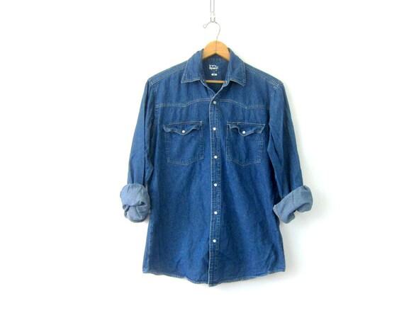 Western Jean Shirt PEARL SNAP Denim Boyfriend Shirt Shirt Vintage Hipster Cowboy Work Shirt Mens Size Medium