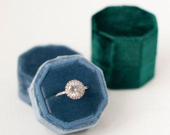 Ring Box - Velvet Ring Box - Vintage - Proposal Ring Box - Engagement ring box - Wedding - Personalized Gift - Octagon - Niagara