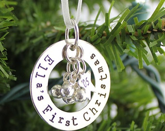 First Christmas hand stamped and personalized sterling silver ornament with jingle bells
