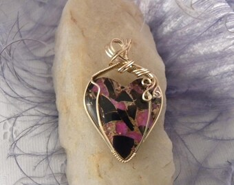 Pink Calcite and Obsidian Heart Pendant
