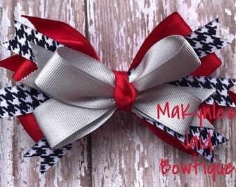 Red & Silver Houndstooth Hairbow| Houndstooth Bow