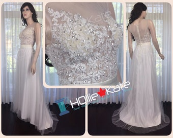 Sheer lace wedding dress, Sheer lace tulle gown, sheer back wedding dress, wedding gown