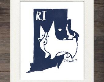 Rhode Island Matted Art Print