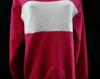 Vintage Russell Athletic Sweatshirt Crew Neck Pink/White Medium Striped Deadstock Made In The USA 1990s Two Tone