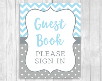 Guest Book, Please Sign In 8x10 Printable Boy's Baby Shower Guestbook Sign in Light Blue and Gray and White Polka Dots