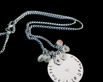 Hand Stamped Necklace - Personalized Family Necklace - Grandmother's Necklace