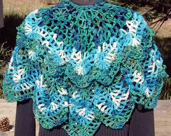 On SALE Waterfall Hand Crocheted Circular Shawl Cape Capelet Wool and Cotton Aqua Turquoise Blue Green Cream