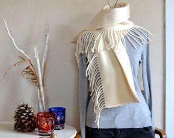Wool Scarf Pendleton Fringe Lined in Silk Blanket Wool Warm White Paisley Print