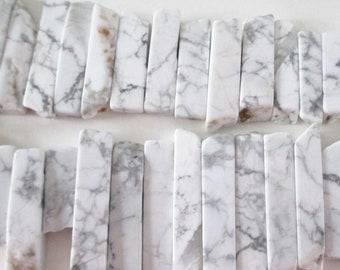 "White Howlite Spike Beads - Long White Gray Marble Beads - Smooth Freeform Beads - Top Drilled - Mosaic Spike - 8"" Strand -DIY Boho Jewelry"