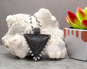 Beaded Necklace, Triangle Necklace, Black Necklace, Seed Bead Necklace, Geometric, Gift Idea, Beaded Jewelry