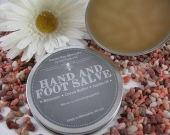 Honey Bee Hand and Foot Salve for Dry Hands, Feet, Elbows, Knees, Preservative Free