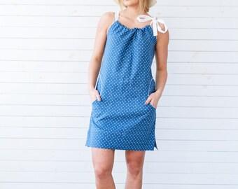 Linen summer dress, Linen dress with polka dots in blue, Blue summer tunic, Linen dress, Blue polka dot dress, Flax summer dress