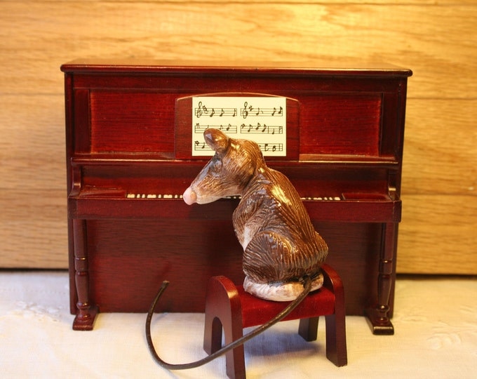Pottery Piano Mouse and Miniature Piano. A great present for anyone who loves music or animals. Each Sculpture has its own unique character.