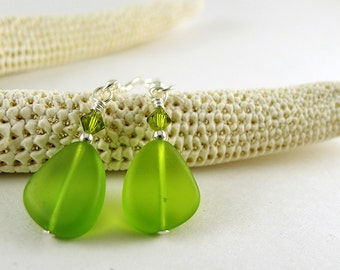 Green sea glass earrings olive green seaglass jewelry handmade earrings with crystals green earrings recycled glass eco friendly beads gift