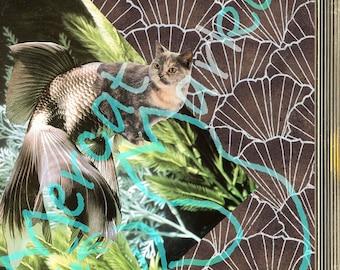 Art Deco Mercat, print, card, fancy goldfish, underwater, whimsical, collage