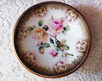 Antique PK Silesia Gilt and Roses Plate, Beautiful Stenciling, Gorgeous Rose Bouquet Theme